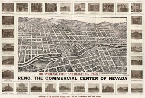 MAP RENO NEVADA 1907 VINTAGE LARGE WALL ART PRINT POSTER PICTURE LF2620