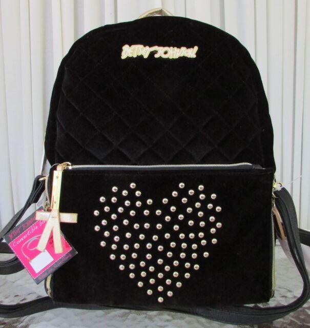 5be7720fb4be Betsey Johnson Convertible Backpack Bag Black Velvet Velour Heart Studs NWT