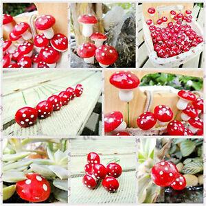 50pcs-Mini-Red-Mushroom-for-Miniature-Plant-Pots-Fairy-Decor-Garden-Magic-Craft