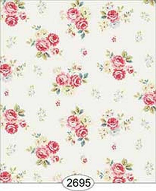 Dollhouse Miniature 1:12 Scale Wallpaper Rose Hill Floral Blue
