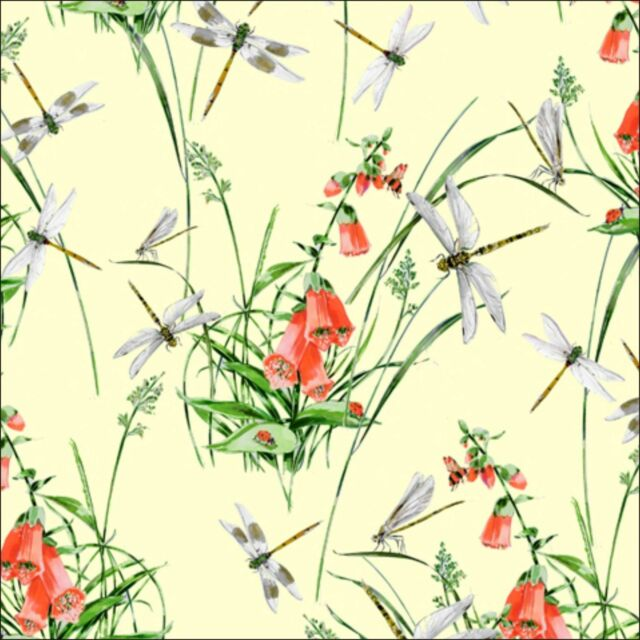 Wildflowers Dragonflies Cotton Fabric Inprint at Jane Makower