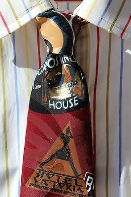Gent's Maroon Printed Tie - Vintage Luggage Labels - London, Wiesbaden, New York