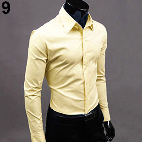 BL/_ Men/'s Fashion Casual Candy Color Long Sleeve Slim Fit Dress Shirt Top Deluxe