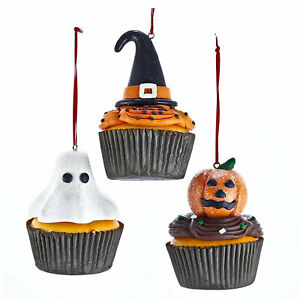 Set-3-Kurt-Adler-Halloween-Cupcake-Candy-Witch-Christmas-Tree-Ornaments-Decor