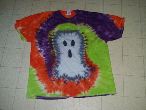 HALLOWEEN-GHOST CAT BAT ADULT Handmade tie dye shirt JACK O/'LANTERN WITCH HAT