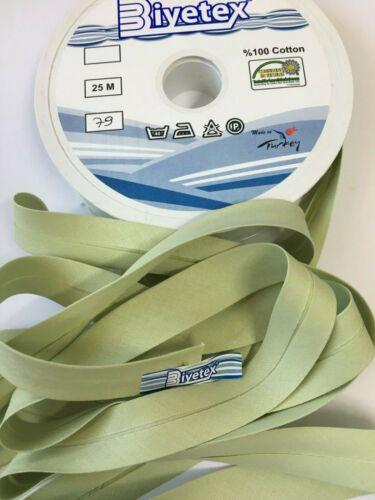 81 COLOURS /%100PURE COTTON  Bias Binding Tape 2cm Width// 20 mm