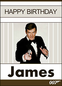 Details About 007 James Bond Roger Moore More Personalised Birthday Card Any Name Any Message