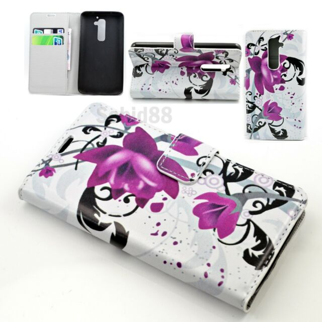 Flower Leather Print Flip Card Wallet Pocket Phone Cover Case For LG G2 D802