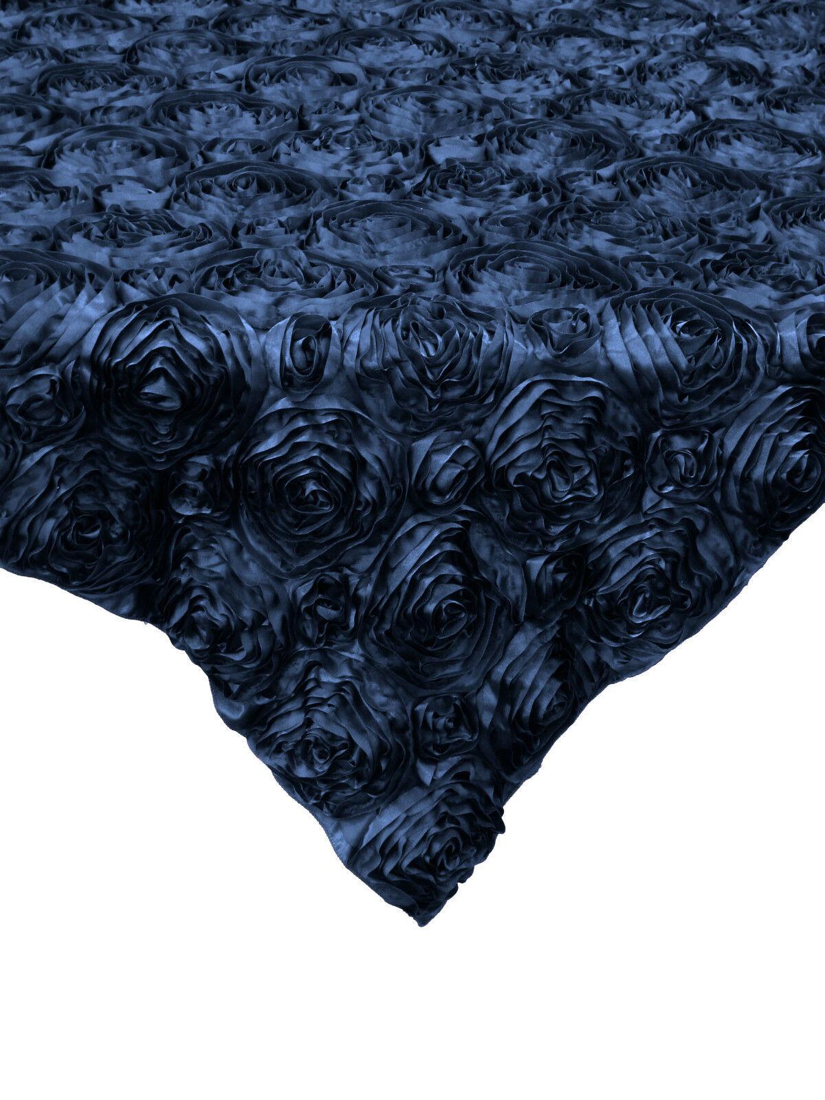 10 Bleu Marine 54 x54  Rosette Rose Satin Table superpositions nappes événement Mariage