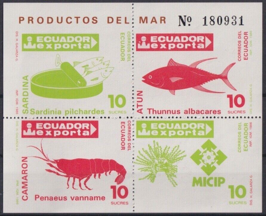 F-EX25073 ECUADOR MNH 1984 EXPORTA TUNA CAMARON SARDINA FISH MICIP.