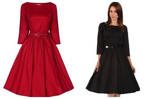 Details about Lindy Bop Retro Vintage 50s Holly Cotton Long Sleeve Swing Dress size 826
