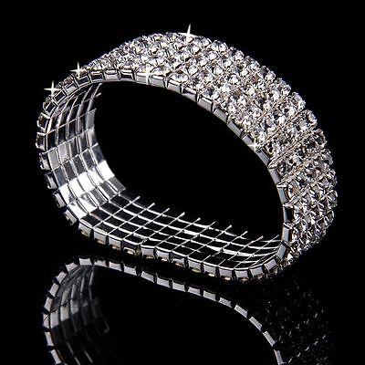 Lady Wedding Bridal Crystal Rhinestone Stretch Bracelet Bangle Wristband Gift