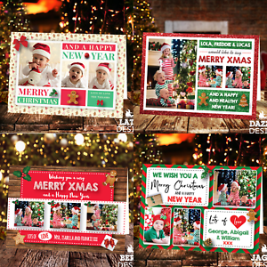 Personalised-Christmas-Cards-Xmas-Photo-Folded-Postcards-Boy-Girl-Children-Pack