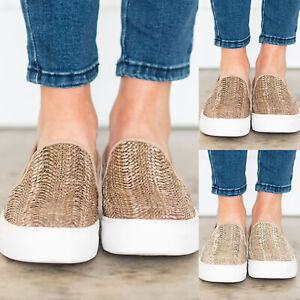 Women-039-s-Summer-Knitted-Round-Toe-Slip-On-Platform-Flat-Heel-Loafer-Casual-Shoes