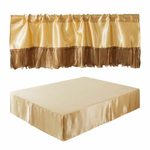 Tache Satin Gold Caramel Latte Platform Bed Skirt Ruffle Valance Bed Accessories