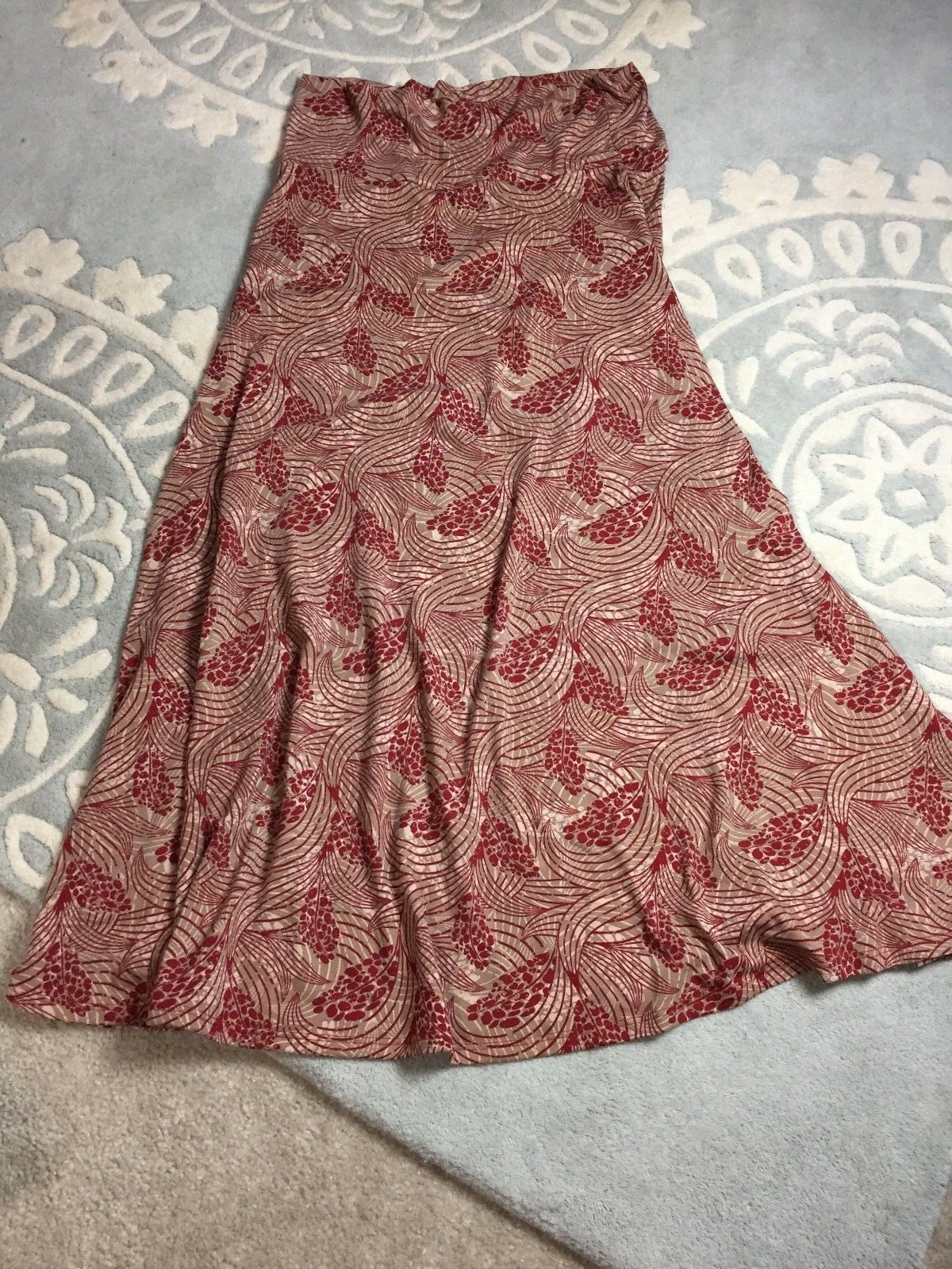 NEW LulaRoe Brown Red Tan Patterned Floral Leaf Maxi Skirt Stretch XL