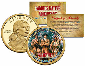 SACAGAWEA-Famous-Native-Americans-Dollar-US-Coin-LEWIS-CLARK-EXPEDITION-Indian