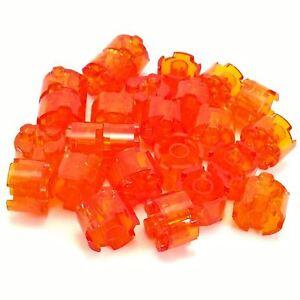 Lego Lot of 50 New Trans-Orange Bricks Round 2 x 2 with Axle Hole Pieces