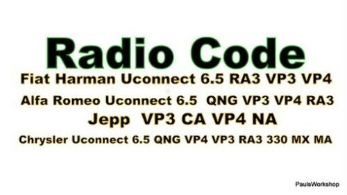 Radio Code Jeep Chrysler vp4 ra3 vp3 QNG Key Code Continental 6.5 t00be