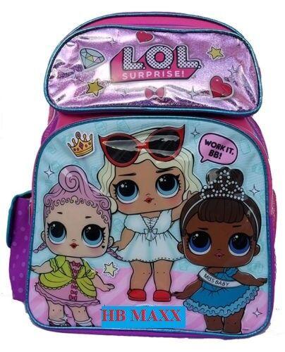 "LOL Surprise Large School Backpack LOL Doll 16/"" Girls Book Bag Work It BB"