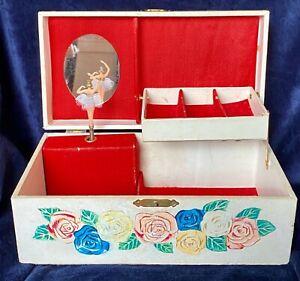 Vintage Musical Jewelry Box Dancing Ballerina, Love Story Jaymar Japan 1970