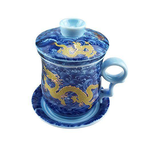 Ufingo-Blue Dragon BONE CHINA CERAMIC porcealin Chinois Tasse à thé avec couvercle et Sau