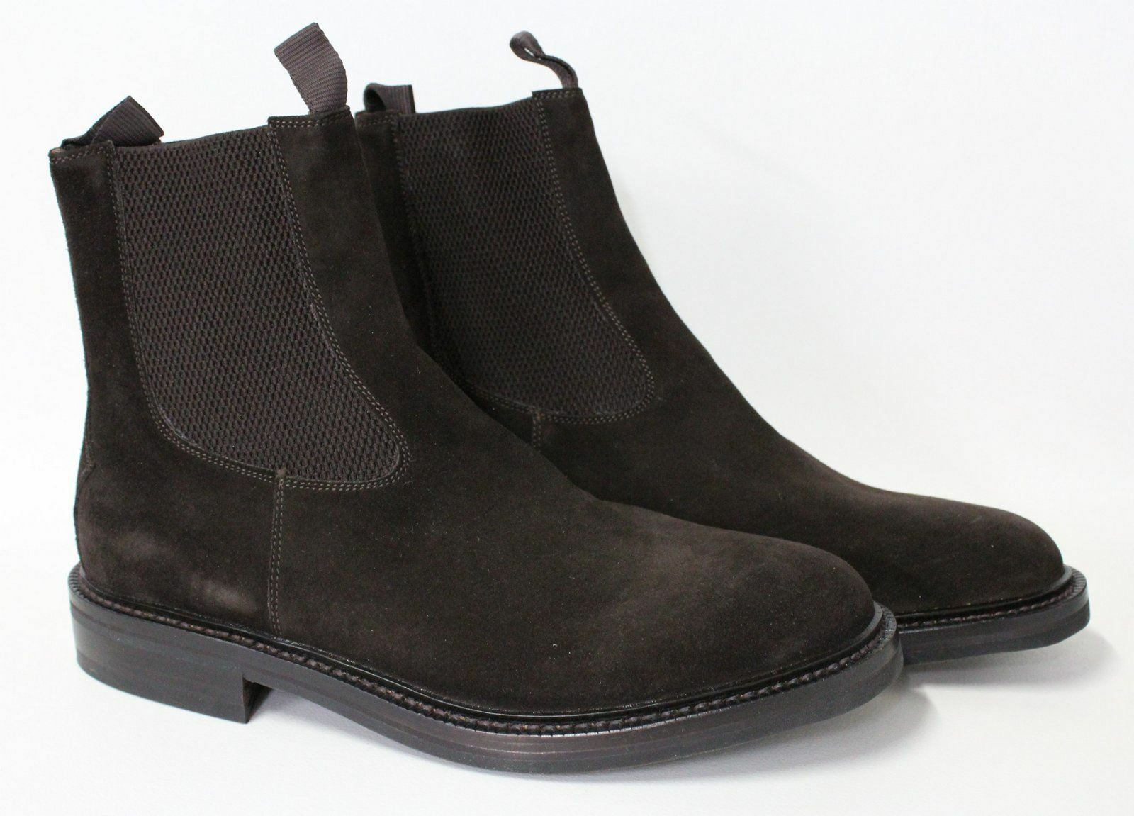 BOTTI Men's Chocolate Brown Suede Round Toe Pull On Chelsea Ankle Boots UK10