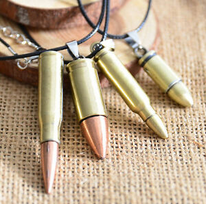 Fashion-Men-Jewelry-Force-Bronze-Bullet-Pendant-Black-Leather-Necklace-Gift