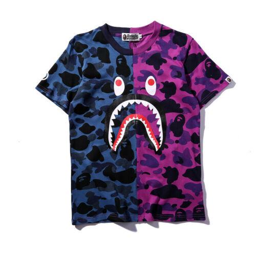 BAPE A BATHING APE Shark Head Camo T-shirt Crew Neck T Shirt Tops Mens Basic TEE