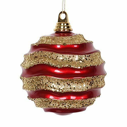 Vickerman M132186 Candy Glitter Striped Wave Ball Christmas Ornament For Sale Online Ebay