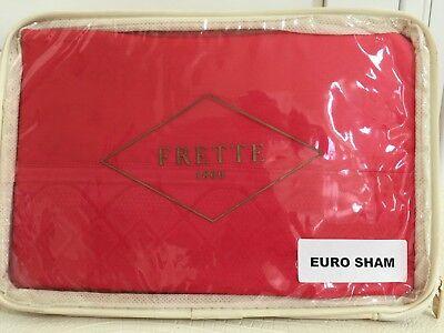 "FRETTE Euro Pillow Sham ITALY Flare Arredo 1x PINK IVORY 26x 26/"" Cotton NEW $225"