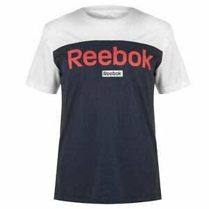 Reebok-BL-a-manches-courtes-T-shirt-homme-homme-a-encolure-ras-du-Cou-Tee-Top-Leger-Couleur
