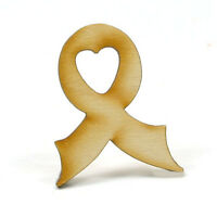 Awareness Ribbon - 1-1/4 X 1 X 1/8 Inch Unfinished Wood (bows01)