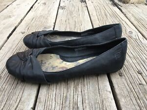Born Black Leather Ballet Flats Slip On
