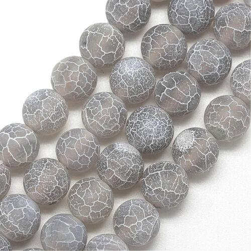 45 Pierres Précieuses Agate Perles 8 mm mat pierre naturelle gris Bijoux Bricolage Mode r322#3