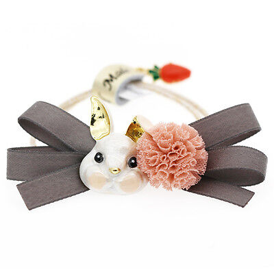 White Rabbit Pink Lace Pompom Baby Girl Elastic Hair Band Wrap Accessories HA262