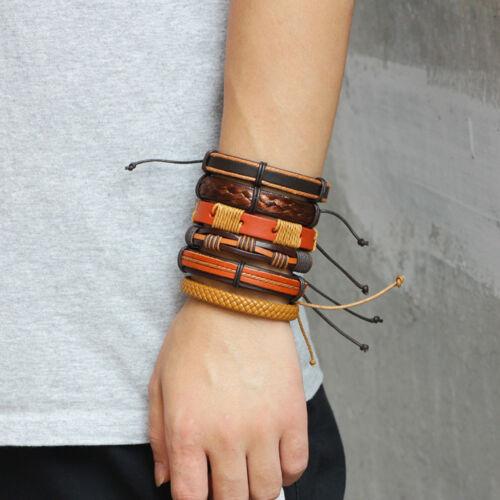 6pcs Set Orange Brown Braided Leather Men Women Hippie Cuff Wristband Bracelet