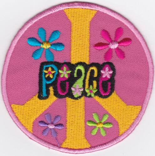 a3z7 Aufnäher Bügelbild Iron on Patches Peace Zeichen Flower Power Pink Hippie