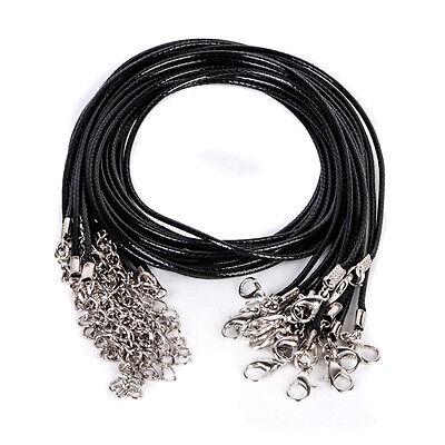 Wholesale Bulk lot 10pcs Black PU Leather String 50CM Necklace Cords