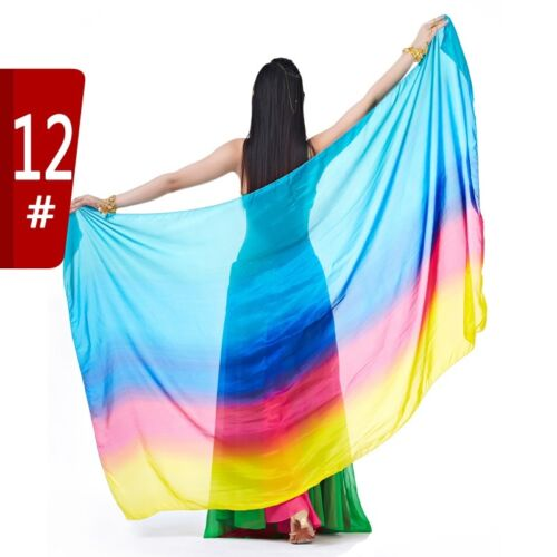 Belly Dance Colourful 100/% Silk Veil Shawl Scarf 2 Sizes 12 Colors