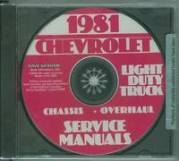 1981 Chevrolet Truck Factory Shop & Overhaul Manual On Cd-light Duty Trucks