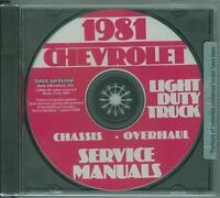 1981 Chevrolet Truck Factory Shop & Overhaul Manual On Cd-light Duty Trucks