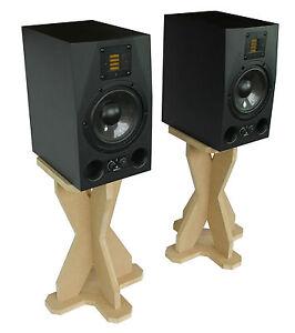 desk studio monitor speaker stands 435mm desktop dj cdj wooden mdf ebay. Black Bedroom Furniture Sets. Home Design Ideas
