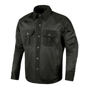 Mens-Biker-Motorcycle-Shirt-Mesh-Cotton-Rider-Jacket-Black-XXL-Made-with-Kevlar