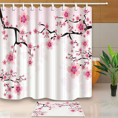 180CM Fabric Cool Shower Curtain Set Spring Bamboo Lilies in Water Print BathMat