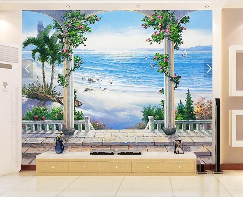 Durable Free Beach 3D Full Wall Mural Photo Wallpaper Printing Home Kids Decor