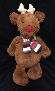 Jellycat Bashful Reindeer Plush Soft Toy Brown Red Scarf Stripe Christmas Xmas