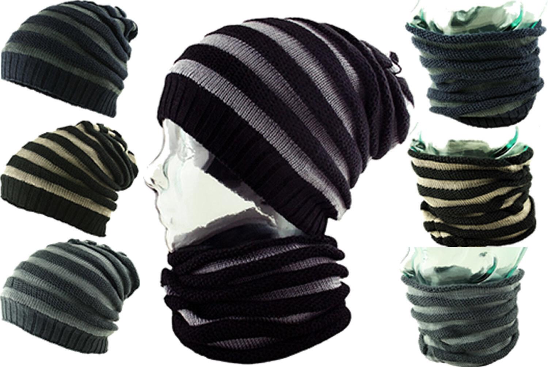 Itzu Co 3 IN 1 Streifen Damen - Beanie - Hals - Gesicht - Wärmer Schal Kappe Hut