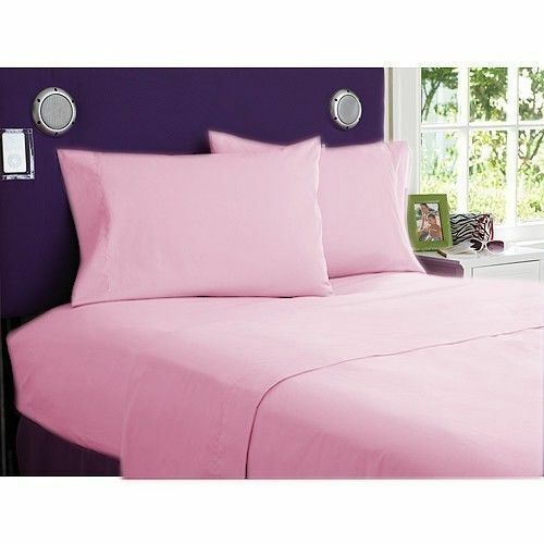 Fitted Sheet Bedding Items US Sizes Pink Solid All Size 1000 TC Egyptian Cotton