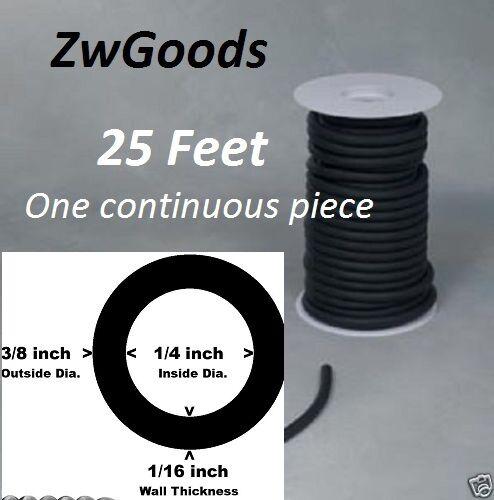"25 Continuous Feet 1//16/"" I.D x 1//32 w x 1//8 O.D Latex Tiny Rubber Tubing Black"